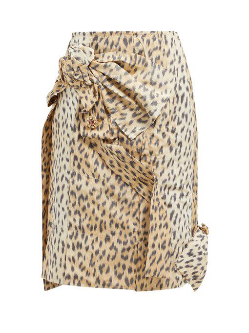 39267fede6f685 Calvin Klein 205W39Nyc Crushed Leopard-Print Silk Pencil Skirt ...