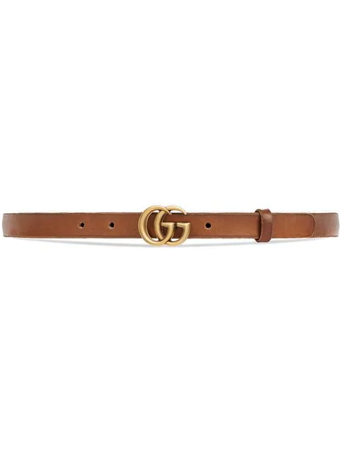 Gucci Leather Belt With Double G Buckle In Brown