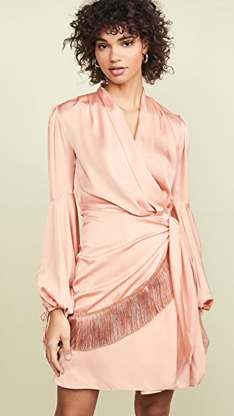 0a3c36aac622 Patbo Fringe Trim Mini Wrap Dress In Bright Peach | ModeSens
