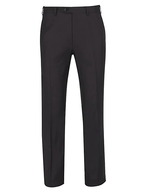 Brioni Anthracite Basic Wool Trousers In Aubergine