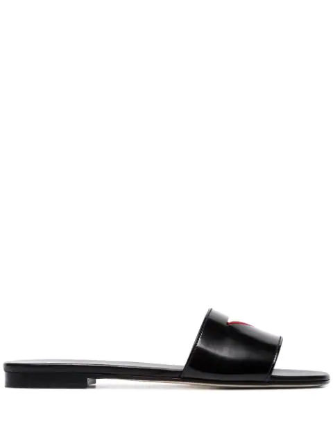 Prada Patent Slides With Cut-Out Triangle In Black