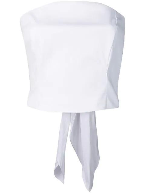 Sara Roka Cropped Poplin Top - White
