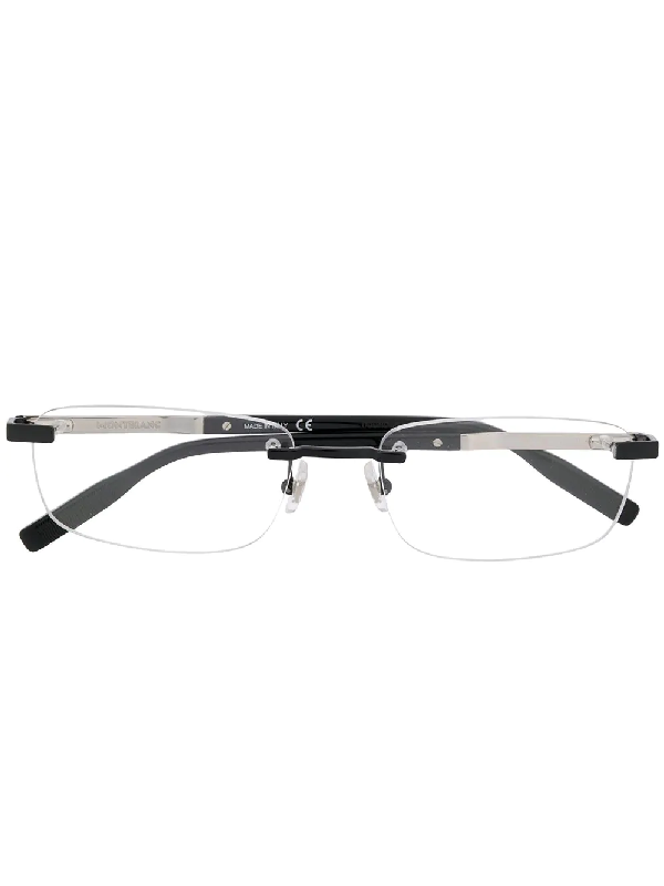 Montblanc Para Ótica Ventura Rectangular Frameless Glasses In Black