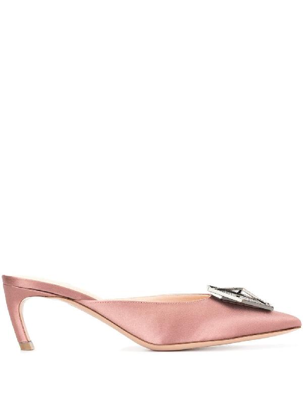 7c4919c90 Nicholas Kirkwood Crystal Plaque Heeled Mules - Pink