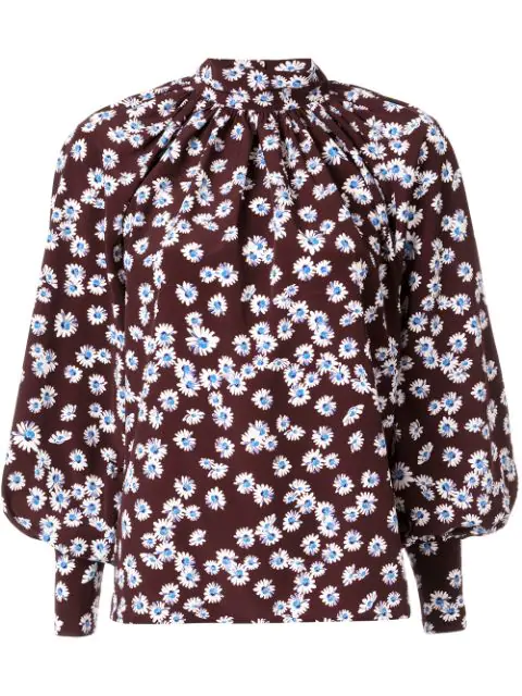 Anna October Daisy Print Blouse In Brown