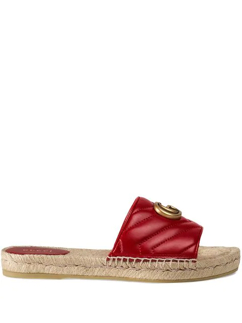 Gucci 10Mm Quilted Leather Slide Sandals In Red