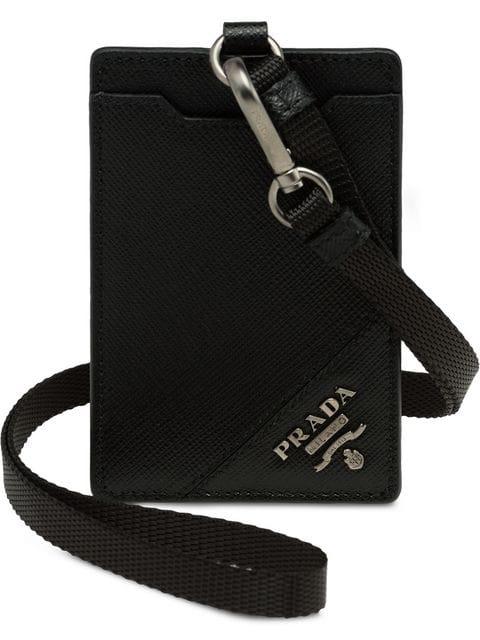 56b84fe246 Prada Saffiano Badge Holder - Black
