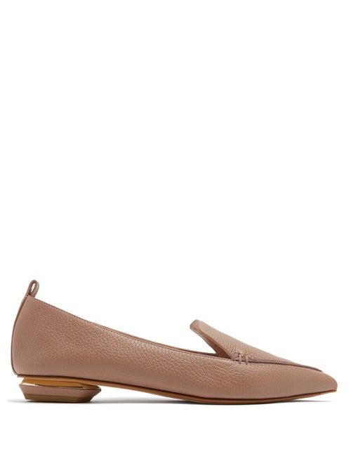 Nicholas Kirkwood Beya Grained-Leather Loafers In Mauve-Pink