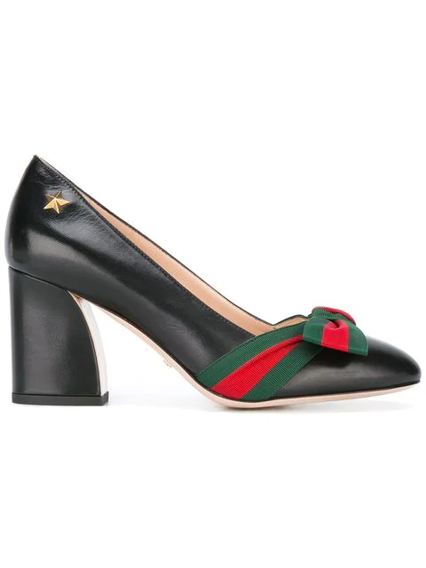 Gucci Web Bow Pumps In Black