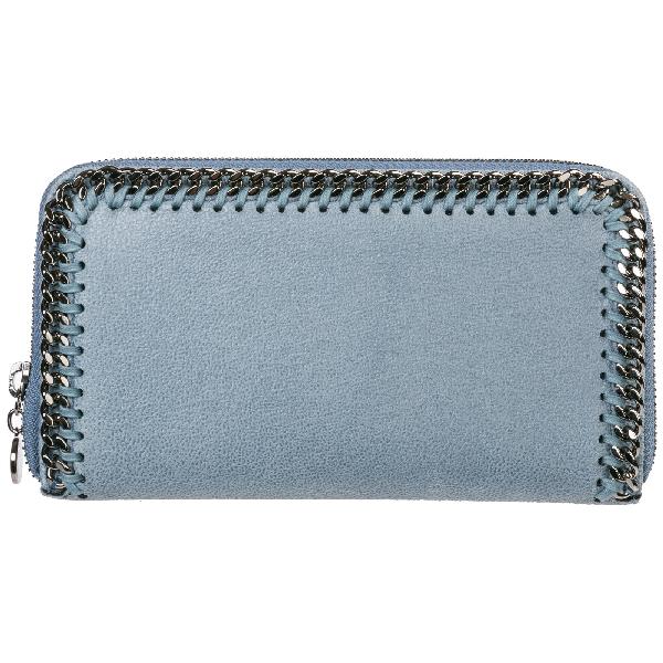 Stella Mccartney Women's Wallet Coin Case Holder Purse Card Bifold  Continental Falabella In Light Blue