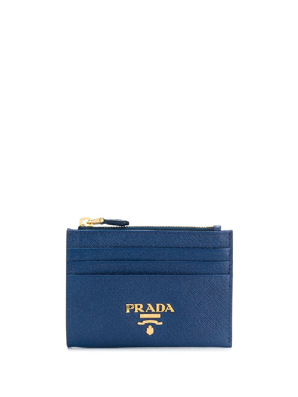 fd8159cb3cb2ca Prada Saffiano Leather Zip Card Holder In Red | ModeSens