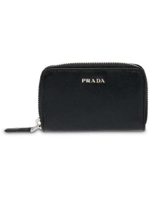 Prada Saffiano Leather Padlock Holder In Black