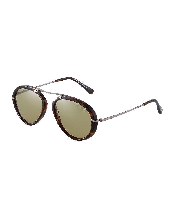 f093dc208 Tom Ford Acetate/Metal Aviator Sunglasses In Brown Pattern | ModeSens