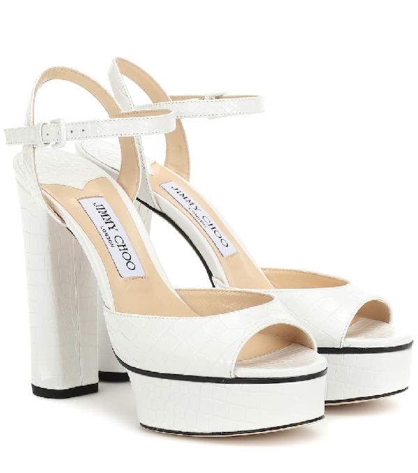 Jimmy Choo Peachy 105 Croc-Embossed Platform Sandals In White