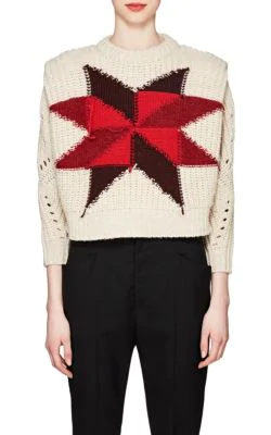 Isabel Marant Nordic Crewneck Star Intarsia Boxy Wool-Mohair Sweater In White