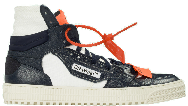 Off-White Off-Court Tumbled Leather Sneakers In Blue