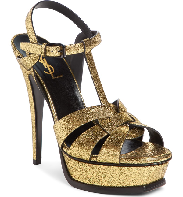 789700eb87edbe Saint Laurent Tribute Metallic Platform Sandal In Gold