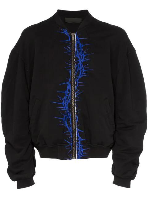 Haider Ackermann Oversized Embroidered Cotton-jersey Bomber Jacket - Black In Blackdye