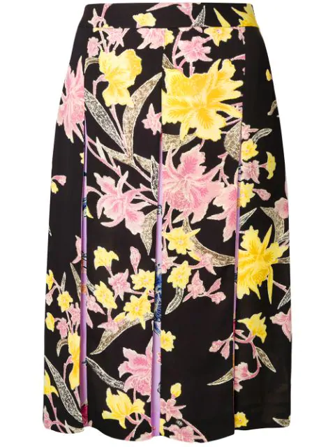 aed41ad88b9a9 Diane Von Furstenberg Opal Pleated Floral-Print Skirt In Floating Bouquet  Black Multi