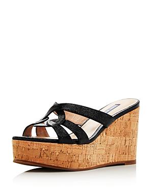0fae778de4f8 Stuart Weitzman Women s Cadence Wedge Sandals In Black Caviar Patent Leather