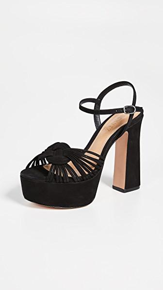 Schutz Women's Anselma High Block-Heel Platform Sandals In Black