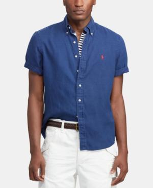 Polo Ralph Lauren Short-Sleeve Linen Classic Fit Button-Down Shirt In Holiday Navy