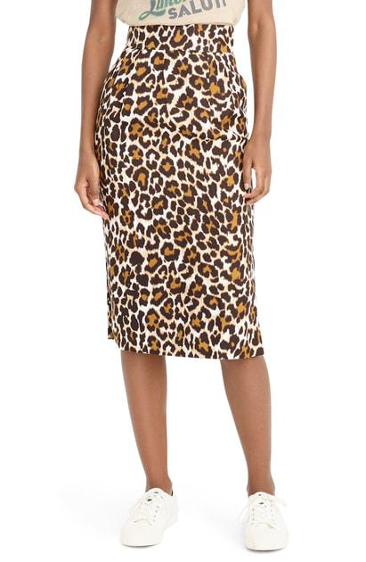 0962a170d4 J.Crew Leopard Print Pencil Skirt In Amber Black | ModeSens