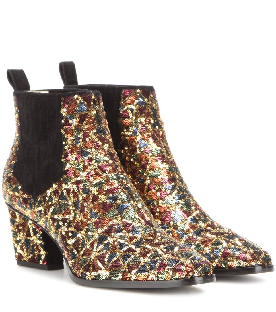 Roger Vivier Skyscraper Glitter Ankle Boots In Silk Satin And Sequins