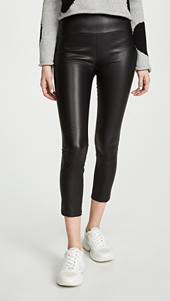 Sprwmn Leather Capri Leggings In Black