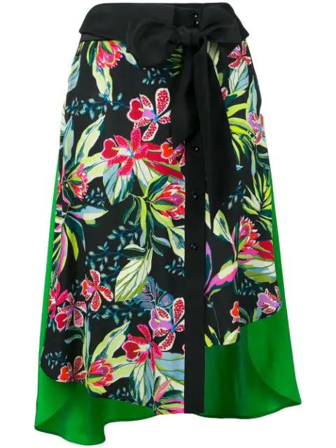 Barbara Bui Floral Print Skirt In Black