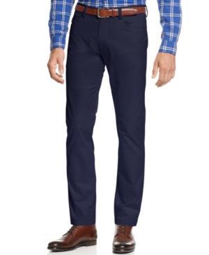 Calvin Klein Men's Slim-fit Stretch Blue/charcoal Birdseye Suit Pants In Navy