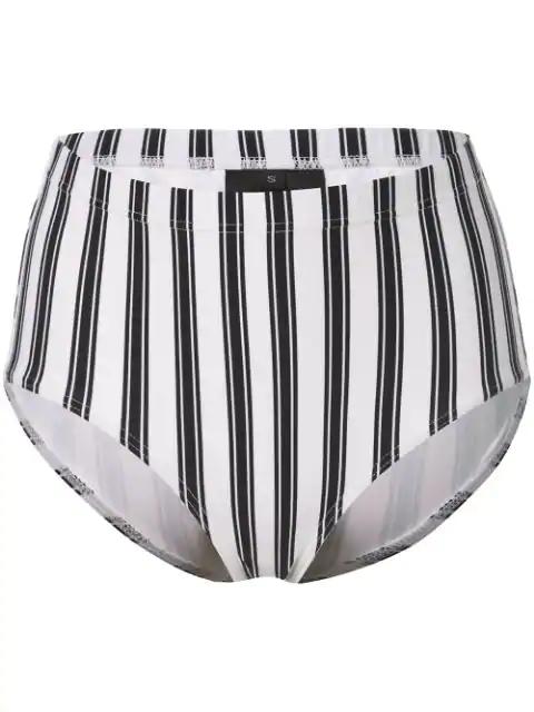 Cynthia Rowley Loren Striped Bikini Bottoms In White