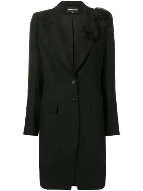 Ann Demeulemeester Flower AppliquÉ Coat In Black