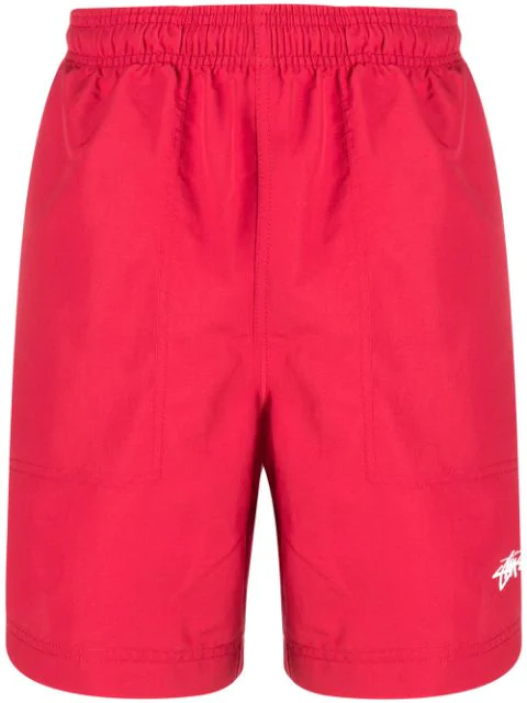 Stussy Stripe Detail Track Shorts In Red