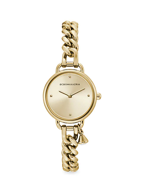 Bcbgmaxazria Ladies Round Goldtone Stainless Steel Chain Bracelet With Crystal Charm Watch, 26mm