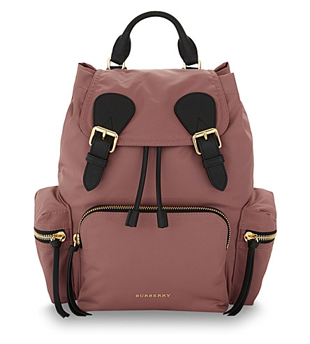 Burberry Prorsum Medium Nylon Backpack In Mauve