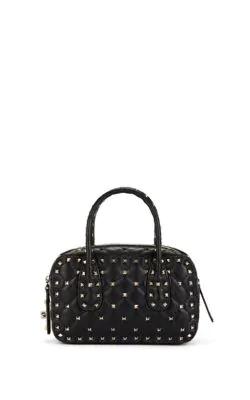 Valentino Rockstud Spike Small Leather Shoulder Bag - Black