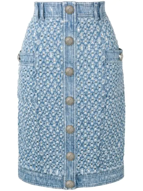big sale 48602 28044 Balmain Perforierter Jeansrock - Blau in Blue