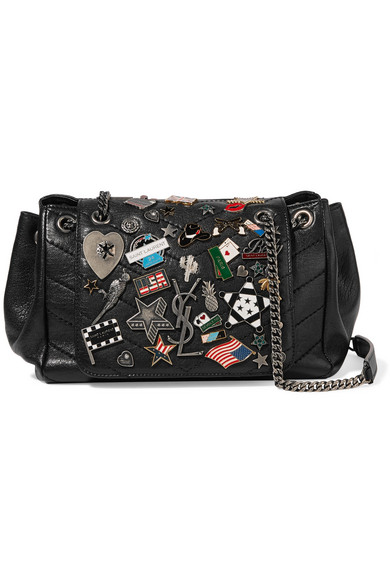 39e9e667e85 Saint Laurent Nolita Medium Embellished Quilted Leather Shoulder Bag In  Black