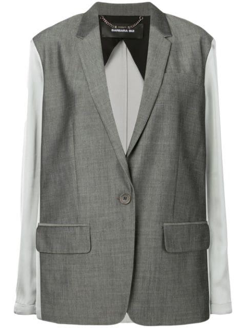 Barbara Bui Contrast Fitted Blazer In Grey