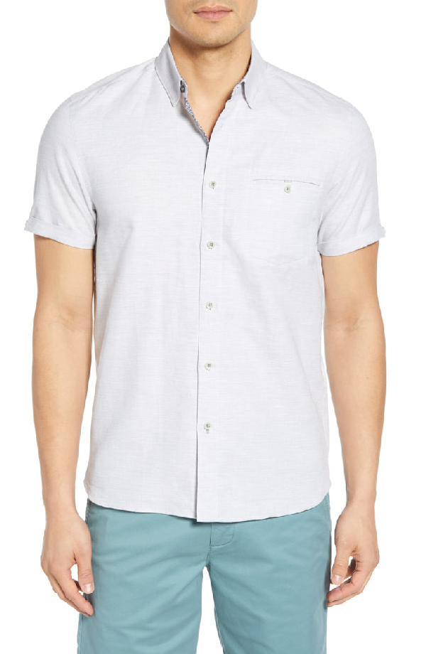 Clion Slim Fit Sport Shirt in Grey