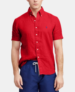 Polo Ralph Lauren Short-Sleeve Linen Classic Fit Button-Down Shirt In Bermuda Red