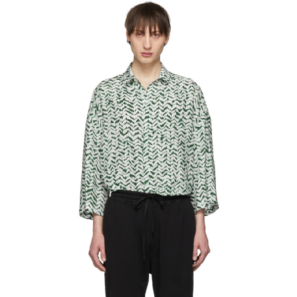 Haider Ackermann Graphic-print Relaxed-fit Rayon And Silk-blend Shirt In Green