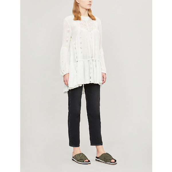 Free People Kiss Kiss Embroidered Cotton Tunic In Ivory