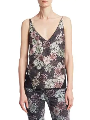 J Brand Lucy Floral-Print Silk Camisole In Grey Multi