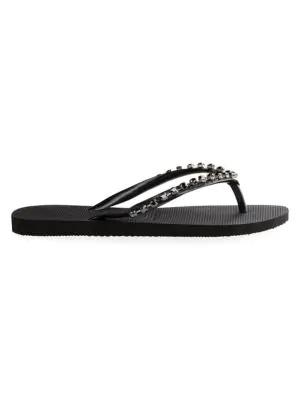 187a476790b4 Havaianas Slim Rock Mesh Crystal-Embellished Flip-Flop Slides In Black