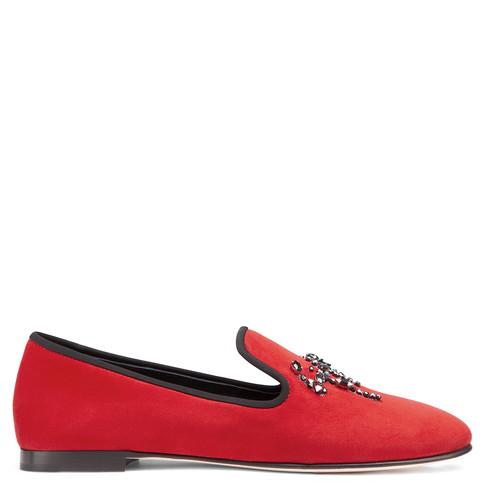 Giuseppe Zanotti Red Velvet 'Dalila' Crystal Logo Detail Loafers