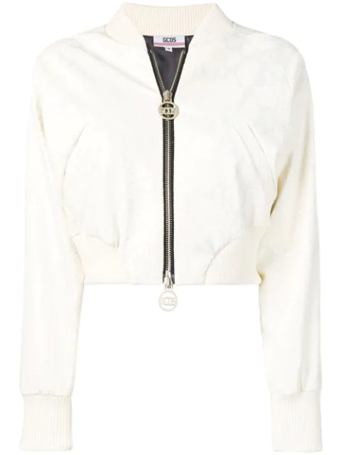 Gcds Cropped Bomber Jacket In Neutrals