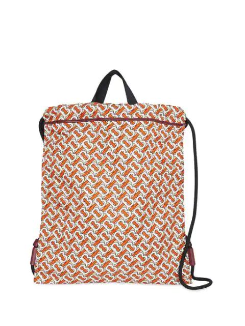 Burberry Monogram Print Nylon Drawcord Backpack In Black