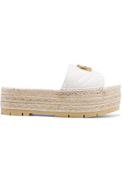 Gucci Quilted Leather Espadrille Platform Slides In White